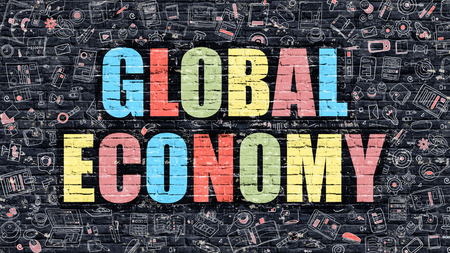 transnational: Global Economy. Multicolor Inscription on Dark Brick Wall with Doodle Icons. Global Economy Concept in Modern Style. Doodle Design Icons. Global Economy on Dark Brickwall Background. Stock Photo