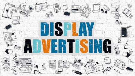 display advertising: Display Advertising Concept. Modern Line Style Illustration. Multicolor Display Advertising Drawn on White Brick Wall. Doodle Icons. Doodle Design Style of Display Advertising Concept. Stock Photo