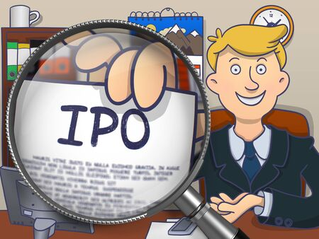initial public offerings: IPO - Initial Public Offering - on Paper in Mans Hand through Magnifying Glass to Illustrate a Business Concept. Multicolor Modern Line Illustration in Doodle Style. Stock Photo