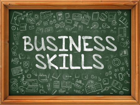 managerial: Business Skills - Hand Drawn on Chalkboard. Business Skills with Doodle Icons Around. Stock Photo
