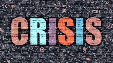 Crisis. Multicolor Inscription on Dark Brick Wall with Doodle Icons Around. Crisis Concept. Modern Style Illustration with Doodle Design Icons. Crisis on Dark Brickwall Background. Stock Photo