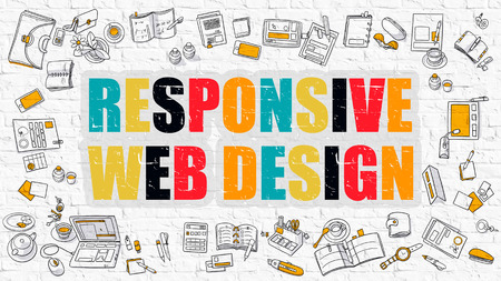 palmtop: Responsive Web Design Concept. Modern Line Style Illustration. Multicolor Responsive Web Design Drawn on White Brick Wall. Doodle Icons. Doodle Design Style of  Responsive Web Design  Concept.