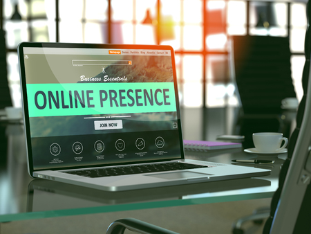 Moderner Arbeitsplatz mit Laptop zeigt Landing-Page mit Online-Präsenz-Konzept. Getönt mit Tiefenschärfe. 3D übertragen. Lizenzfreie Bilder - 54087822