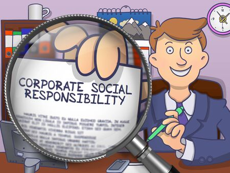 Corporate Social Responsibility. Businessman in Office Shows Paper with Inscription Corporate Social Responsibility. Closeup View through Lens. Multicolor Doodle Style Illustration.