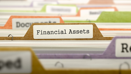 financial assets: Folder in Colored Catalog Marked as Financial Assets Closeup View. Selective Focus. 3D Render. Stock Photo
