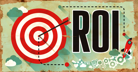 ROI - Return on Investment - Concept. Poster on Old Paper in Flat Design with Long Shadows.