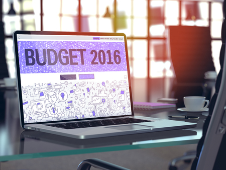 Budget 2016 Concept. Closeup Landing Page on Laptop Screen in Doodle Design Style. On Background of Comfortable Working Place in Modern Office. Blurred, Toned Image. 3D Render. Stock Photo