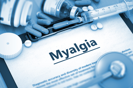 myopathy: Myalgia, Medical Concept with Selective Focus. Diagnosis - Myalgia On Background of Medicaments Composition - Pills, Injections and Syringe. 3D Render. Stock Photo