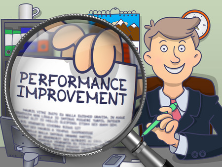 Performance Improvement. Text on Paper in Mans Hand through Magnifying Glass. Multicolor Modern Line Illustration in Doodle Style.