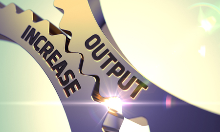 output: Output Increase Golden Metallic Cog Gears. Output Increase - Concept. Output Increase - Industrial Design. Output Increase on Mechanism of Golden Metallic Gears. 3D Render.