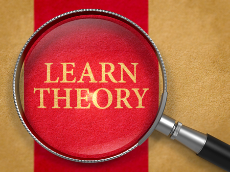 theory: Learn Theory through Magnifying Glass on Old Paper with Dark Red Vertical Line Background. 3D Render. Stock Photo