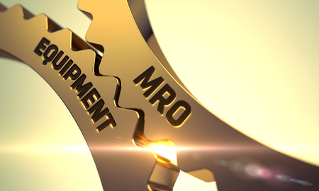enginery: Mro Equipment on Mechanism of Golden Metallic Cog Gears with Glow Effect. Mro Equipment - Industrial Illustration with Glow Effect and Lens Flare. 3D Render.