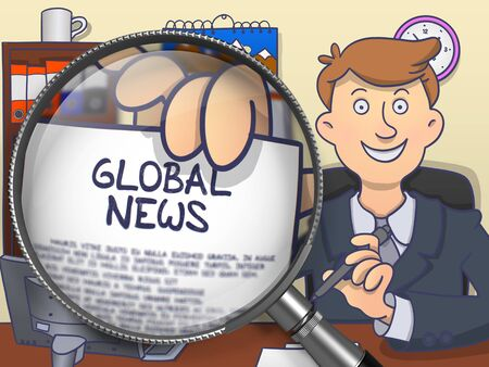 mondial: Global News. Man in Office Workplace Holding through Magnifying Glass Paper with Concept. Colored Doodle Style Illustration.