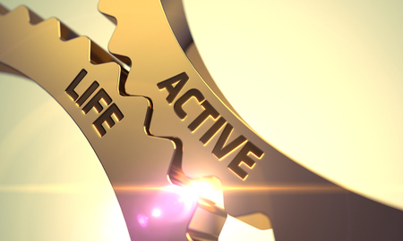 enterprising: Active Life - Technical Design. Active Life on Mechanism of Golden Metallic Cog Gears with Lens Flare. Active Life on Mechanism of Golden Metallic Cogwheels. Golden Gears with Active Life Concept. 3D. Stock Photo