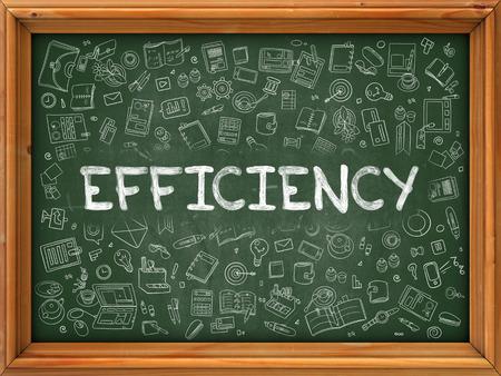 potency: Efficiency - Handwritten Inscription by Chalk on Green Chalkboard with Doodle Icons Around. Modern Style with Doodle Design Icons. Efficiency on Background of Green Chalkboard with Wood Border.