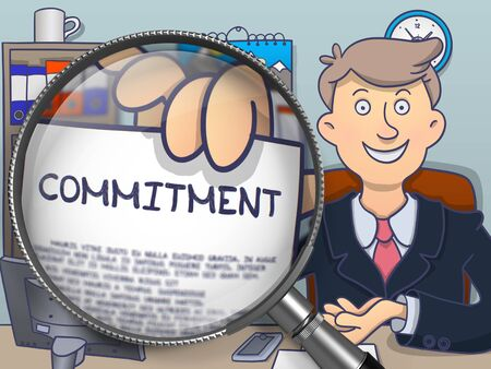 commitment: Commitment. Man Holds Out a Paper with Text Commitment through Lens. Multicolor Modern Line Illustration in Doodle Style.