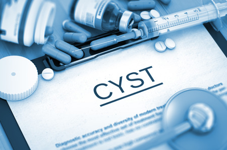 cyst: CYST - Medical Report with Composition of Medicaments - Pills, Injections and Syringe. CYST, Medical Concept with Selective Focus. 3D Render. Stock Photo