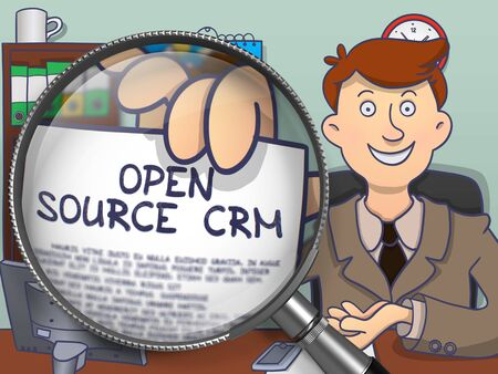 open source: Open Source CRM. Officeman in Office Holding a Paper with Inscription Open Source CRM. Closeup View through Magnifying Glass. Colored Modern Line Illustration in Doodle Style.