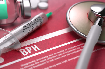 hesitancy: BPH - Printed Diagnosis with Blurred Text on Red Background and Medical Composition - Stethoscope, Pills and Syringe. Medical Concept. 3D Render. Stock Photo
