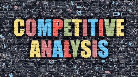 competition: Concepto del análisis competitivo. Análisis de la competencia Drawn oscuro en la pared. Análisis de la competencia en multicolor. Concepto del análisis competitivo. Ilustración de diseño moderno del Doodle de Análisis de la competencia.