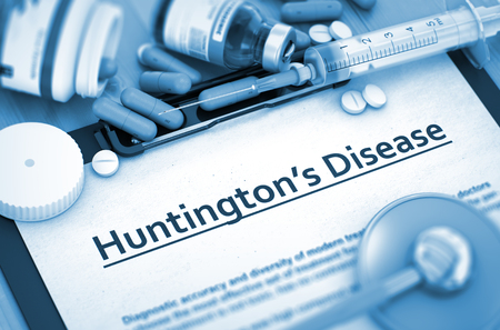involuntary: Huntingtons Disease - Medical Report with Composition of Medicaments - Pills, Injections and Syringe. 3D Render. Stock Photo