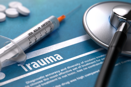 contusion: Trauma - Medical Concept on Blue Background and Medical Composition - Stethoscope, Pills and Syringe. Blurred Image. 3D Render. Stock Photo