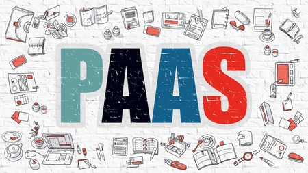 saas: PaaS - Platform as a Service. Multicolor Inscription on White Brick Wall with Doodle Icons Around. PaaS Concept. Modern Style Illustration with Doodle Design Icons. PaaS on White Brickwall Background. Stock Photo