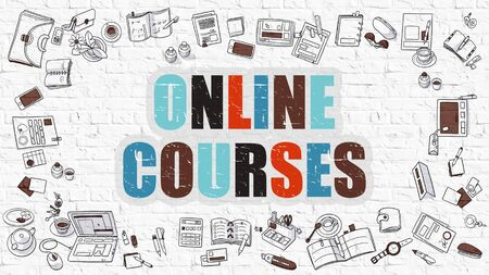 acquire: Online Courses Concept. Modern Line Style Illustration. Multicolor Online Courses Drawn on White Brick Wall. Doodle Icons. Doodle Design Style of Online Courses Concept.