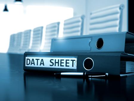 data sheet: Data Sheet - Business Concept on Toned Background. Data Sheet - Binder on Black Desktop. Data Sheet. Business Concept on Blurred Background. 3D Render. Stock Photo