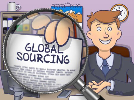 geopolitics: Global Sourcing. Business Man in Office Workplace Showing through Magnifier Paper with Text. Colored Doodle Illustration.