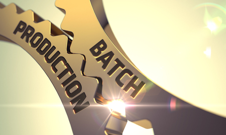 batch: Batch Production on the Mechanism of Golden Cog Gears with Lens Flare. Batch Production - Industrial Design. Batch Production Golden Metallic Cog Gears. Batch Production - Concept. 3D Render.