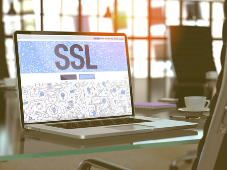 SSL - Secure Socket Layer - Concept Closeup on Landing Page of Laptop Screen in Modern Office Workplace. Toned Image with Selective Focus. 3D Render. 스톡 콘텐츠