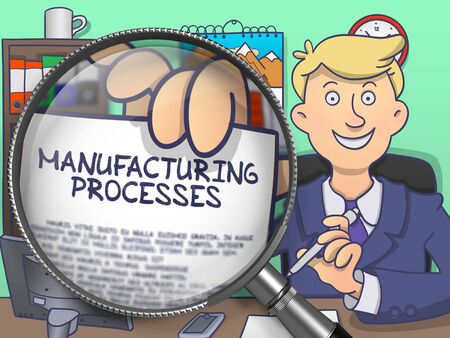 out of production: Manufacturing Processes. Cheerful Businessman Welcomes in Office and Showing Concept on Paper through Magnifier. Multicolor Modern Line Illustration in Doodle Style. Stock Photo