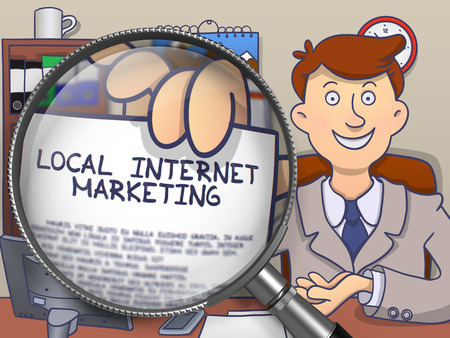 online business: Local Internet Marketing on Paper in Mans Hand through Lens to Illustrate a eBusiness Concept. Colored Doodle Illustration.