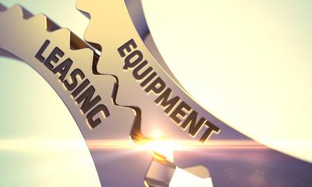 機器のリース - 概念。機器リース ゴールデン Cog 歯車です。機器のリース - 工業デザイン。機器の概念をリースで黄金の歯車。3 D。