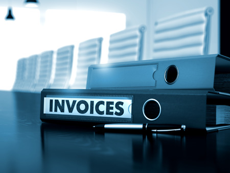 invoices: Invoices - Business Concept on Blurred Background. Invoices - File Folder on Wooden Table. Invoices. Illustration on Blurred Background. 3D.