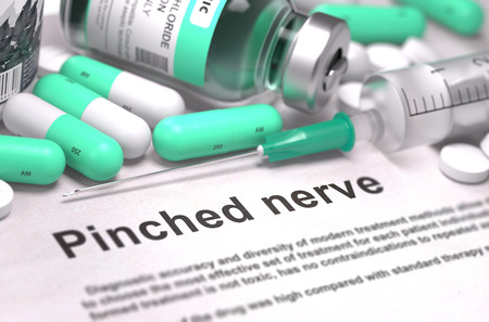 pinched: Diagnosis - Pinched Nerve. Medical Concept with Light Green Pills, Injections and Syringe. Selective Focus. Blurred Background. 3D Render. Stock Photo