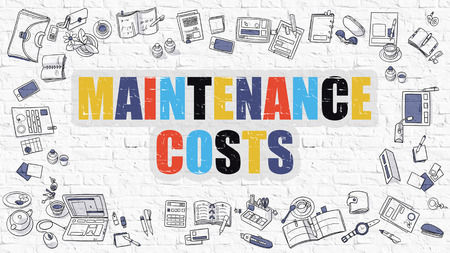 budget repair: Multicolor Concept - Maintenance Costs - on White Brick Wall with Doodle Icons Around. Modern Illustration with Doodle Design Style.