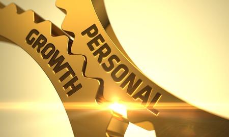 superacion personal: Crecimiento personal sobre el mecanismo de Golden Cog Engranajes con efecto de resplandor. Crecimiento personal - Concepto. Crecimiento personal sobre el Mecanismo de engranajes metálicos de oro del diente con destello de lente. 3D.