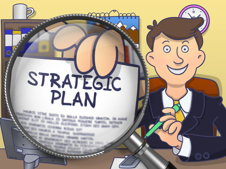 strategic plan: Strategic Plan. Handsome Business Man Welcomes in Office and Shows Paper with Text through Magnifier. Multicolor Doodle Style Illustration.