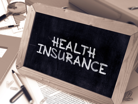 insurance concepts: Hand Drawn Health Insurance Concept  on Chalkboard. Blurred Background. Toned Image. 3D Render.