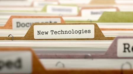 folder: Nuevas Tecnologías del concepto sobre el Registro de carpetas en el Índice de tarjeta multicolor. Primer punto de vista. Enfoque selectivo. Render 3D.