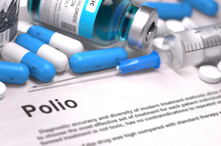 polio: Polio - Printed Diagnosis with Blue Pills, Injections and Syringe. Medical Concept with Selective Focus. 3D Render. Stock Photo
