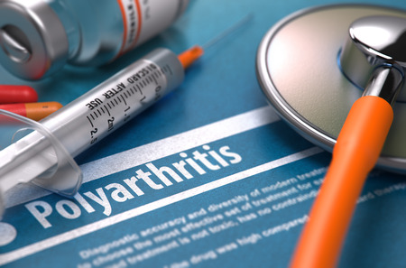 disease cure: Polyarthritis - Printed Diagnosis on Blue Background and Medical Composition - Stethoscope, Pills and Syringe. Medical Concept. Blurred Image. 3D Render.