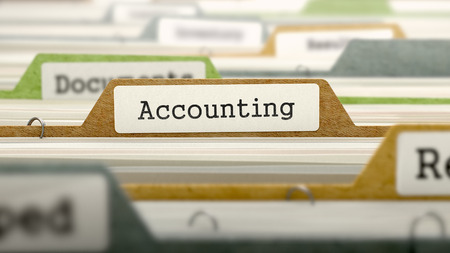 stocktaking: Accounting on Business Folder in Multicolor Card Index. Closeup View. Blurred Image. 3D Render. Stock Photo