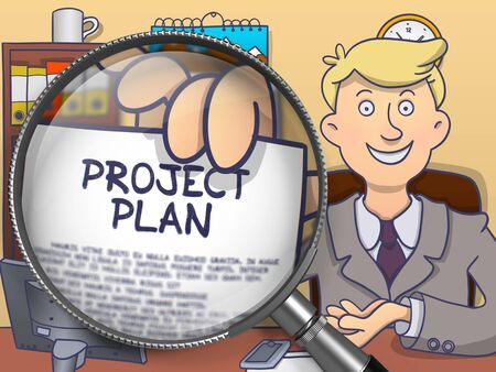 timelines: Project Plan. Text on Paper in Officemans Hand through Magnifying Glass. Colored Modern Line Illustration in Doodle Style. Stock Photo