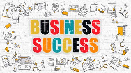 attainment: Business Success - Multicolor Concept with Doodle Icons Around on White Brick Wall Background. Modern Illustration with Elements of Doodle Design Style. Stock Photo