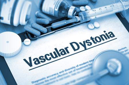 medicaments: Vascular Dystonia Diagnosis, Medical Concept. Composition of Medicaments. Vascular Dystonia, Medical Concept with Pills, Injections and Syringe. 3D. Toned Image.