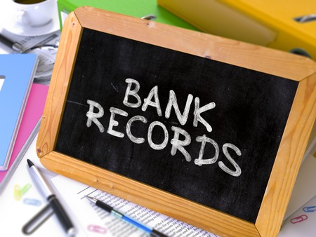bank records: Hand Drawn Bank Records Concept  on Chalkboard. Blurred Background. Toned Image. 3D Render.