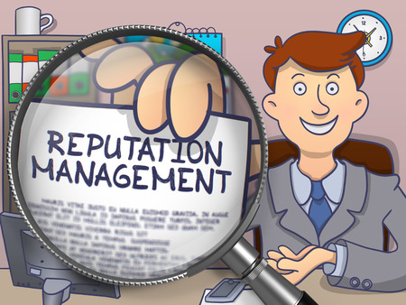 prominence: Reputation Management. Man Showing Paper with Text through Magnifier. Colored Doodle Illustration.